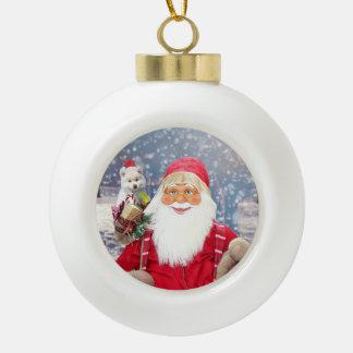 Santa Claus w Christmas Gifts American Eskimo Dog Ceramic Ball Christmas Ornament