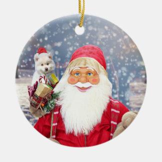 Santa Claus w Christmas Gifts American Eskimo Dog Ceramic Ornament