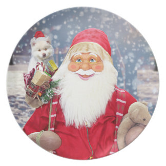 Santa Claus w Christmas Gifts American Eskimo Dog Dinner Plate