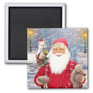 Santa Claus w Christmas Gifts American Eskimo Dog Magnet