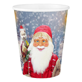 Santa Claus w Christmas Gifts American Eskimo Dog Paper Cup