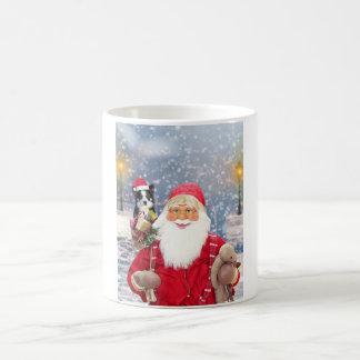 Santa Claus w Christmas Gifts Border Collie Dog Coffee Mug