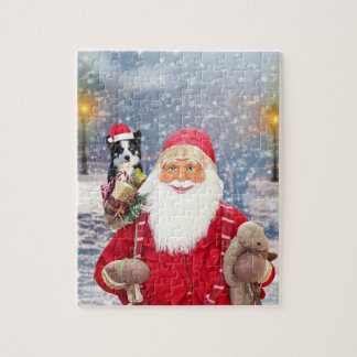 Santa Claus w Christmas Gifts Border Collie Dog Jigsaw Puzzle