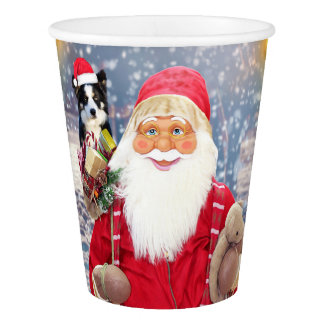 Santa Claus w Christmas Gifts Border Collie Dog Paper Cup