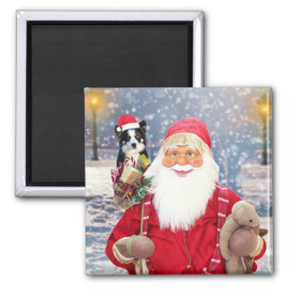 Santa Claus w Christmas Gifts Border Collie Dog Square Magnet