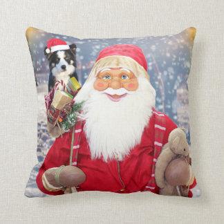 Santa Claus w Christmas Gifts Border Collie Dog Throw Pillow