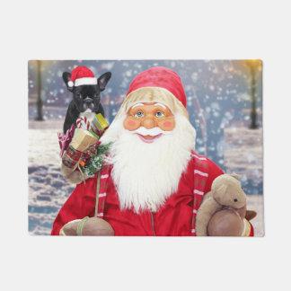 Santa Claus w Christmas Gifts French Bulldog Doormat