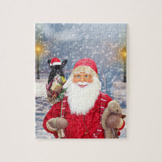 Santa Claus w Christmas Gifts French Bulldog Jigsaw Puzzle