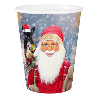Santa Claus w Christmas Gifts French Bulldog Paper Cup