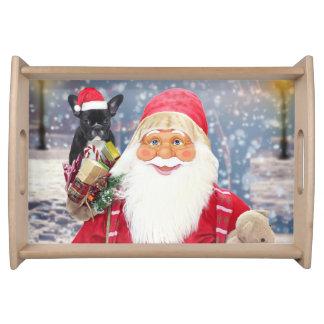 Santa Claus w Christmas Gifts French Bulldog Serving Tray