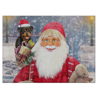 Santa Claus w Christmas Gifts Rottweiler Dog Boards