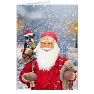 Santa Claus w Christmas Miniature Schnauzer Dog Card