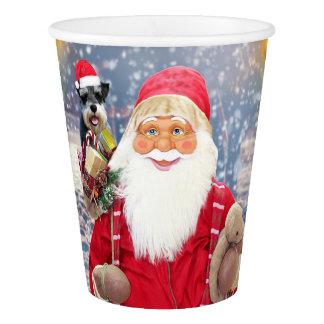 Santa Claus w Christmas Miniature Schnauzer Dog Paper Cup