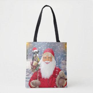 Santa Claus w Christmas Miniature Schnauzer Dog Tote Bag