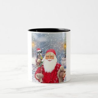 Santa Claus w Christmas Miniature Schnauzer Dog Two-Tone Coffee Mug