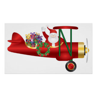 Santa Claus Waving on Biplane with Gifts Poster