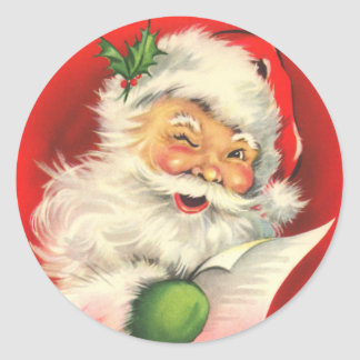 Santa Claus with a Wink Round Sticker