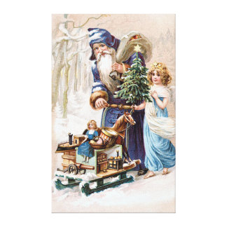 Santa Claus with Angel Canvas Print