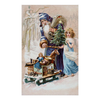 Santa Claus with Angel Posters
