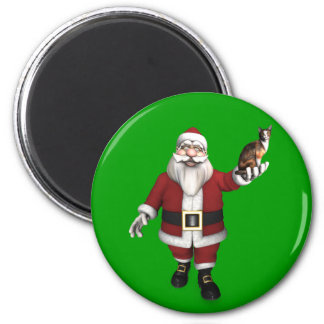 Santa Claus With Calico Cat Magnet
