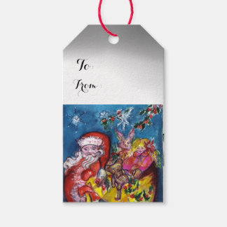 SANTA CLAUS WITH CHRISTMAS GIFT SACK PACK OF GIFT TAGS