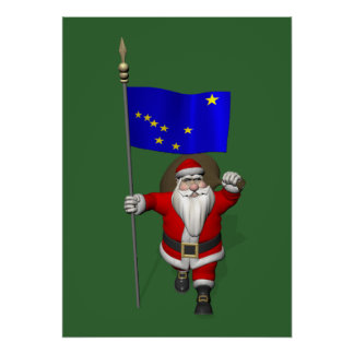 Santa Claus With Ensign Of Alaska Poster