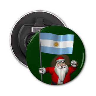 Santa Claus With Ensign Of Argentina Bottle Opener