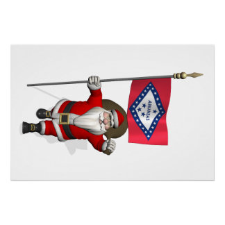 Santa Claus With Ensign Of Arkansas Perfect Poster
