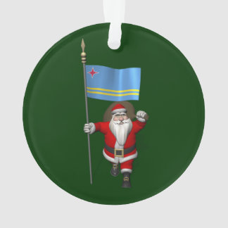 Santa Claus With Ensign Of Aruba Ornament
