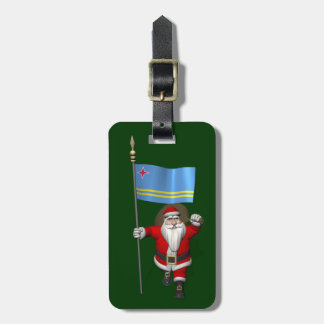 Santa Claus With Ensign Of Aruba Tags For Bags