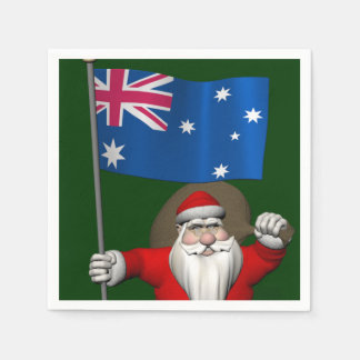 Santa Claus With Ensign Of Australia Disposable Napkins