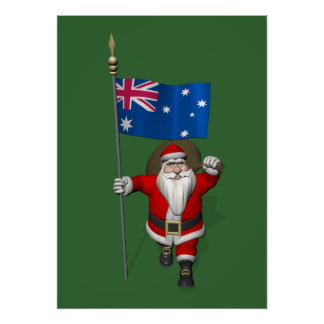 Santa Claus With Ensign Of Australia Poster