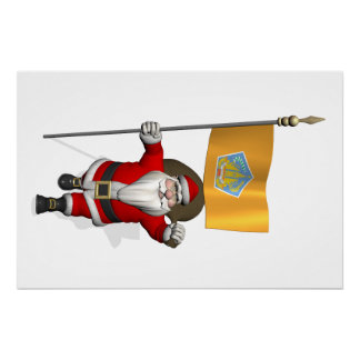 Santa Claus With Ensign Of Bali Perfect Poster