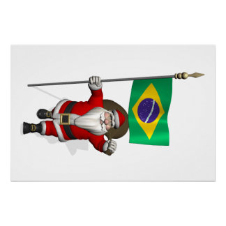Santa Claus With Ensign Of Brazil Perfect Poster