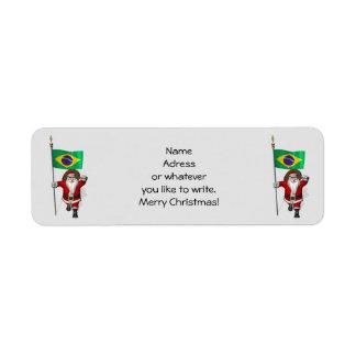 Santa Claus With Ensign Of Brazil Return Address Label
