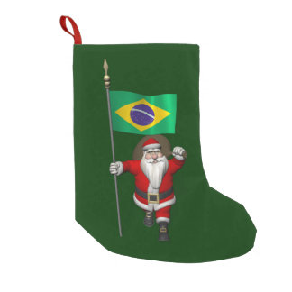 Santa Claus With Ensign Of Brazil Small Christmas Stocking