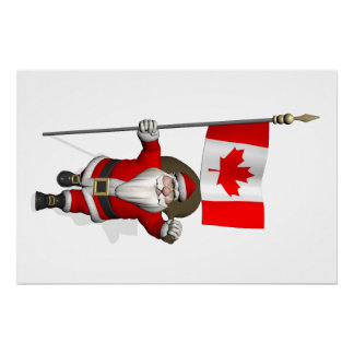 Santa Claus With Ensign Of Canada Perfect Poster