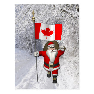 Santa Claus With Ensign Of Canada Postcard