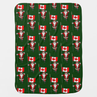 Santa Claus With Ensign Of Canada Swaddle Blankets