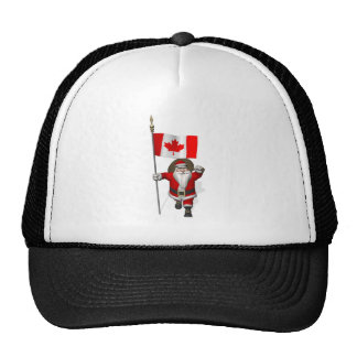 Santa Claus With Ensign Of Canada Trucker Hat