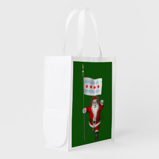 Santa Claus With Ensign Of Chicago Reusable Grocery Bag