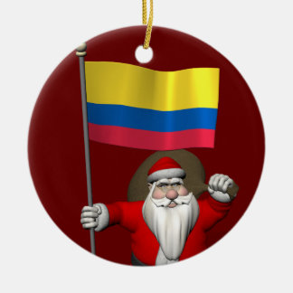 Santa Claus With Ensign Of Colombia Round Ceramic Ornament