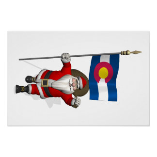 Santa Claus With Ensign Of Colorado Perfect Poster