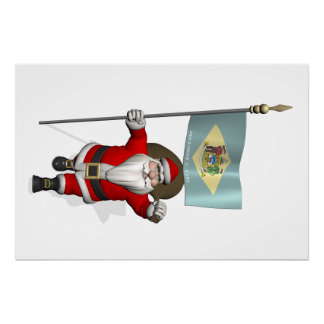 Santa Claus With Ensign Of Delaware Perfect Poster