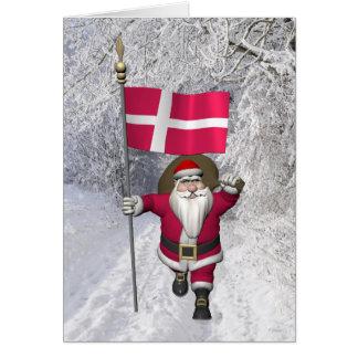 Santa Claus With Ensign Of Denmark Dannebrog Card