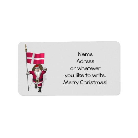 Santa Claus With Ensign Of Denmark Dannebrog Label