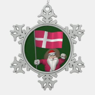 Santa Claus With Ensign Of Denmark Dannebrog Pewter Snowflake Ornament