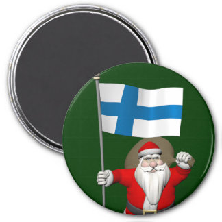Santa Claus With Ensign Of Finland Magnet