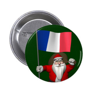 Santa Claus With Ensign Of France 2 Inch Round Button