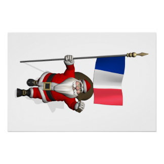 Santa Claus With Ensign Of France Perfect Poster